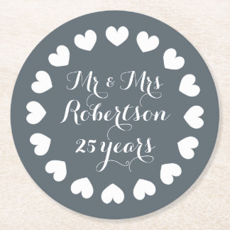 Mr and Mrs 25th wedding anniversary drink coasters