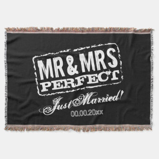 Mr and Mrs Just Married blanket gift for newlyweds