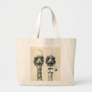 Mr. and Mrs Ostrich Large Tote Bag