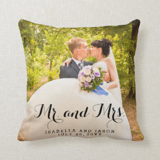 Mr and Mrs Personalized Wedding Photo Throw Pillow