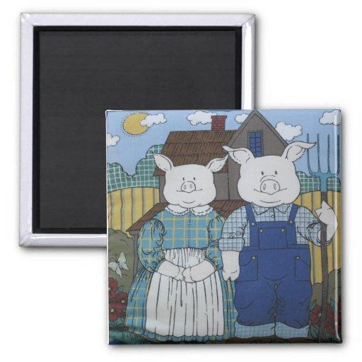 Mr And Mrs Pig Refrigerator Magnets