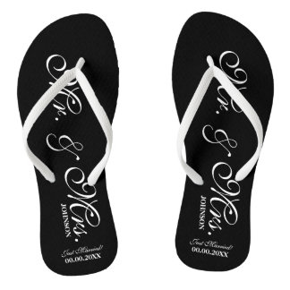 Mr and Mrs wedding flip flops for bride and groom Thongs