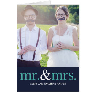 MR. AND MRS. Wedding Thank You Photo Card