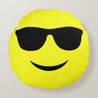 Mr Cool Smiley Face Emoticon Round Throw Pillow