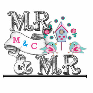 Mr & Mr Sign With Love Birds Cake - Table Decor Photo Cutouts