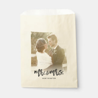 Mr & Mrs Brush Calligraphy Photo Wedding Favor Bag Favour Bags