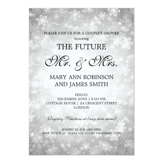 Mr Mrs Couples Shower Silver Winter Wonderland Card