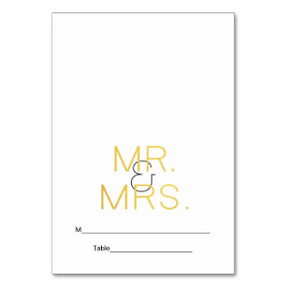 Mr. & Mrs. Gold Elegant Typography Wedding Place Table Cards