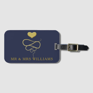 Mr & Mrs | Gold Heart Ornament | Personalized Navy Luggage Tag