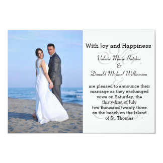 Mr. & Mrs. Gray - 3x5 Photo Marriage Announcement
