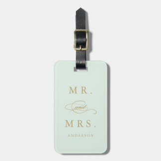 Mr. & Mrs. in Mint & Gold | Luggage Tag