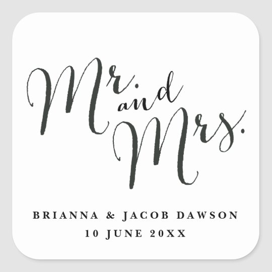 Mr. & Mrs. Modern Calligraphy sticker