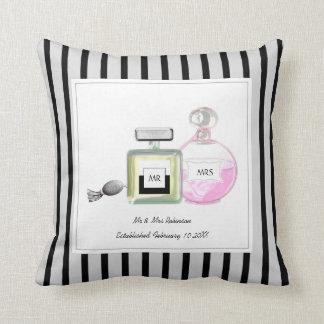 Mr & Mrs Perfume Bottles Personalized Wedding Throw Pillow