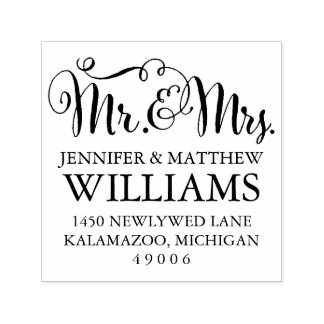 Mr. & Mrs.    Return Address Self-inking Stamp