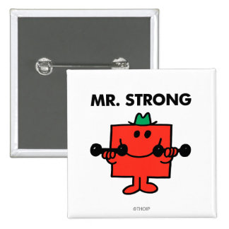 Mr. Strong | Lifting Weights 2 Inch Square Button