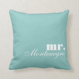 Mr. Throw Pillows | Custom Name Blue Throw Pillow