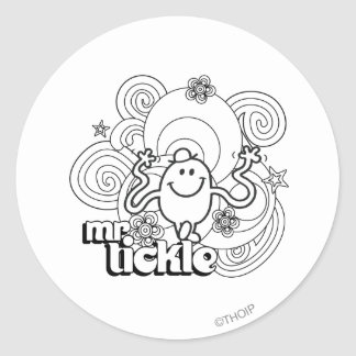 Mr. Tickle | Black & White Swirls & Stars Classic Round Sticker