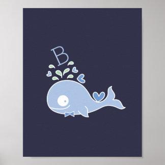 Mr. Whale Bow Tie Monogram Boy Nursery Wall Art Poster