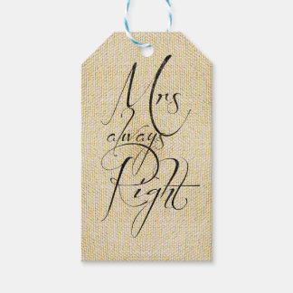 Mrs Always Right linen pattern Gift Tags