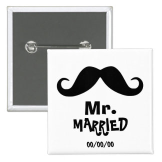 Mrs. and mr., newly weds ,just married,Set x2 15 Cm Square Badge