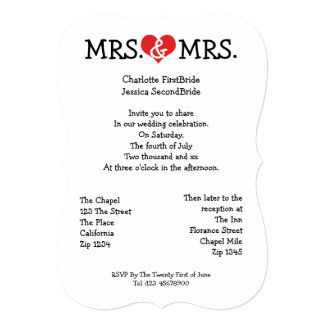 Mrs and Mrs Love Heart Lesbian Wedding Card
