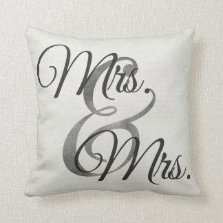 Mrs and Mrs White Script lesbian Wedding Throw Pillow