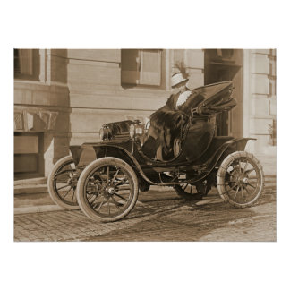 Mrs. Borah and Vintage Auto 1912 Poster