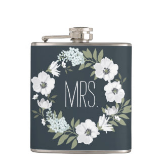 Mrs. Floral Wedding Gifts Personalised Flasks