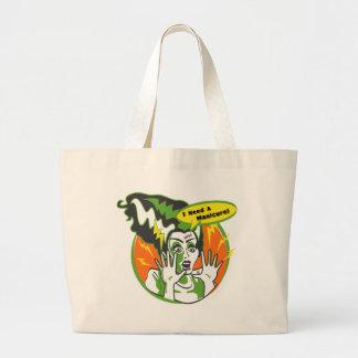 Mrs Frankenstein Needs a Manicure Large Tote Bag