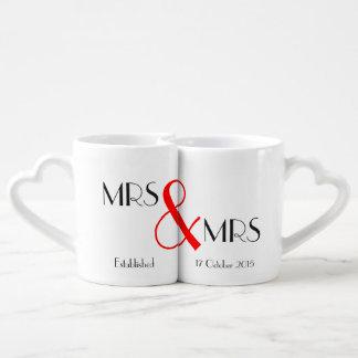 Mrs & Mrs Lesbian Wedding Gift Coffee Mug Set