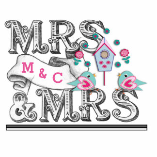 Mrs & Mrs Sign With Love Birds Cake - Table Decor Photo Cut Out