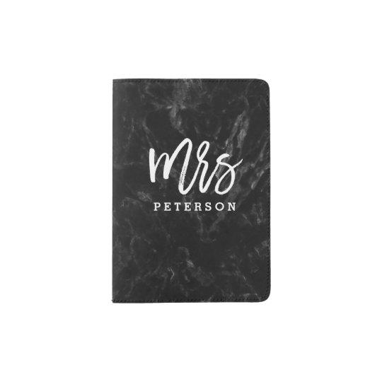 Mrs passport white typography black marble passport holder