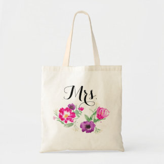 Mrs. Watercolor Flowers Tote