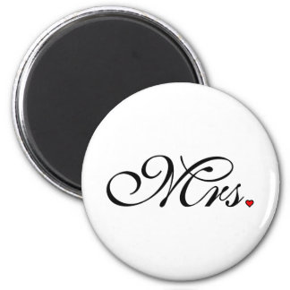 Mrs. Wife Bride His Her Newly Weds 6 Cm Round Magnet