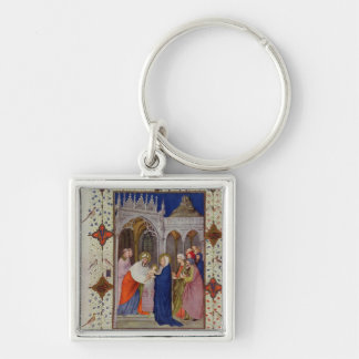 MS 11060-11061 Hours of Notre Dame: None, The Pres Silver-Colored Square Key Ring