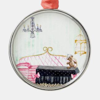 Ms. Pig E. Banks Child`s Bedroom Watercolor Art Christmas Ornament