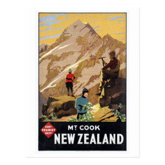 Mt.Cook New Zealand Mountains Vintage Travel Postcard