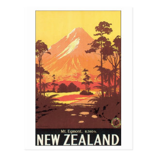 Mt Egmont New Zealand Travel Poster Postcard