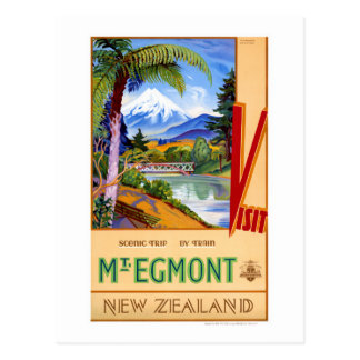 Mt. Egmont New Zealand Vintage Travel Poster Postcard