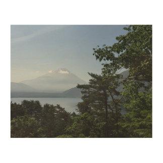 Mt Fuji and Lake Motosuko Wood Print