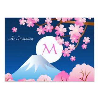 Mt Fuji Cherry Blossoms Spring Japan Night Sakura 13 Cm X 18 Cm Invitation Card
