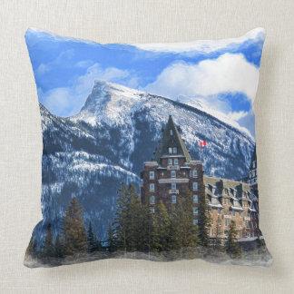 Mt Rundle and Famous Hotel, Banff, Alta, Canada Cushion