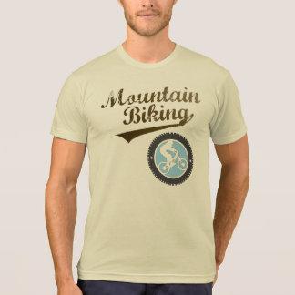 MTB Mountain Biking Retro Graphic, Brown & Blue Tee Shirts