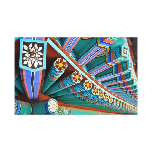 Mu Ryang Temple Roofline Stretched Canvas Print