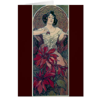 mucha art deco red flowers woman lady female card