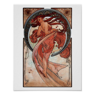 Mucha dance art deco poster