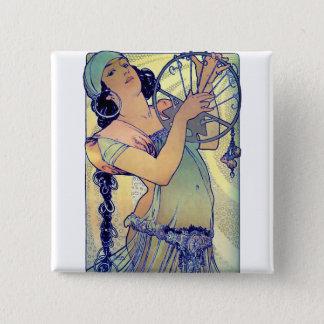 mucha gypsy tambourine dance music woman 15 cm square badge