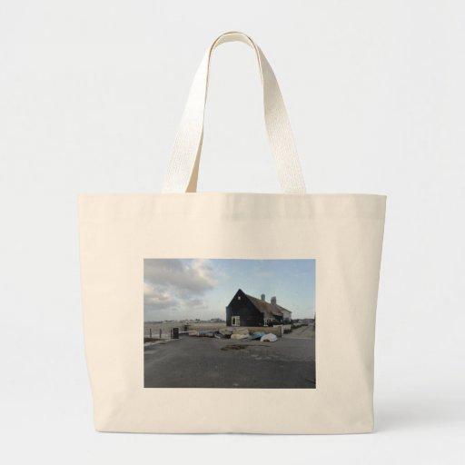 Mudeford Quay on a windy day. Canvas Bags
