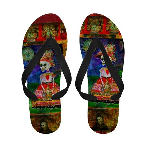 Muerte Day of the Dead KATRINA  artistic Flip-Flops