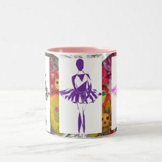 mug coffee ballerina black pink purple skulls